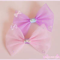 I Love You Tulle Hair Bow - Fairy Kei
