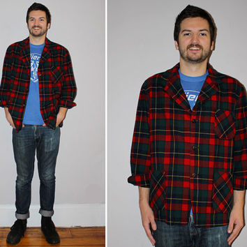 Vintage Men's PENDLETON Plaid Shirt / Tartan Plaid / GRUNGE Button Down / Red, Green, Navy Wool / Long Sleeve Overshirt / Pockets / Large