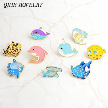 QIHE JEWELRY Sea cuties pin Whale Shark Narwhal Octopus Puffer fish Hard enamel pin Lapel pin Brooches Badges Pinback