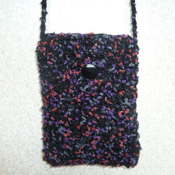 Crochet Purse  - Speckled Black Pink and Purple Crossbody Bag Lined