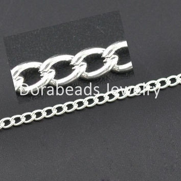 DoreenBeads 10M silver color Links-Opened Curb Chains 5x3.3mm (B09582)