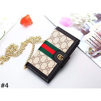GUCCI tide brand men and women models chain flip iphone leather case mobile phone case cover #4
