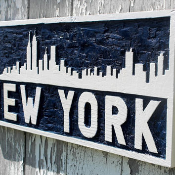 New York City skyline wooden sign hand carved wall art