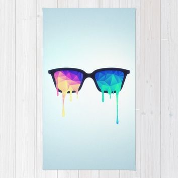 Psychedelic Nerd Glasses with Melting LSD/Trippy Color Triangles Rug by Badbugs_art | Society6