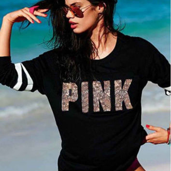 Black Victoria's Secret PINK Women's Fashion Letter Print Round neck Long-sleeves Pullover Tops Sweater