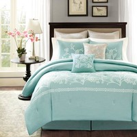Harbor House Landon Bedding - floral bedding collection in colors of white, natural and seafoam blue