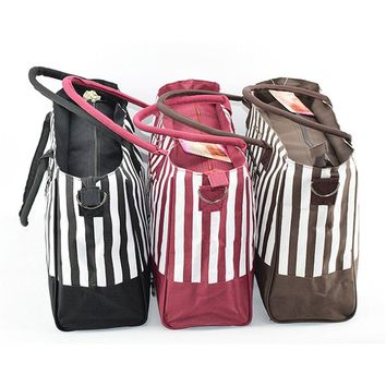 Striped Maternity Large Capacity Diaper Tote Bag