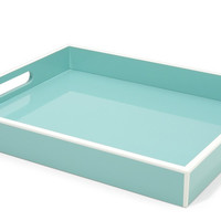 Elle Lacquer Serving Tray Turquoise 14x17