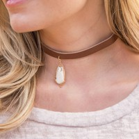 Suede and Stone Choker