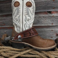 Custom Made To Order Floral Tooled Dove Wing Spur Straps