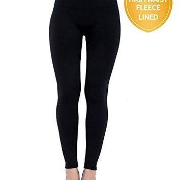 Womens Fleece Lined Seamless ,Black Leggings(1pk),One Size