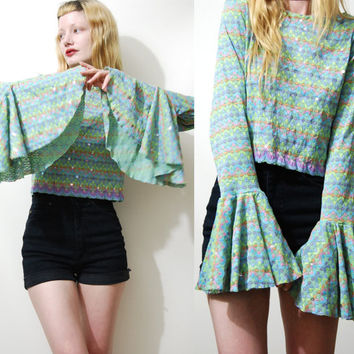 90s Vintage BELL SLEEVE Top Sequin Daisy Crop Blouse Shirt Long Flare Sleeve Grunge Hippie Club Kid vtg 1990s M L