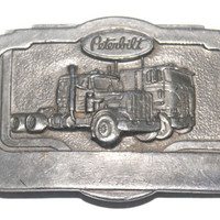 Vintage 1985 Solid Peterbilt Belt Buckle, Trucker, Big Rig, Tonkin, Made in USA, Antique Alchemy