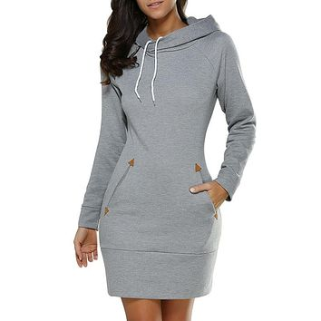 Women Solid Spring Casual High Quality Hooded Dresses Pocket Ladies Autumn Long Sleeved Oversized Mini Dress Zippers