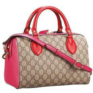 Gucci Boston Supreme Canvas Shoulder Bag Red & Fuchsia