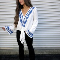 Island Blue Embroidered Top - These Three Boutique