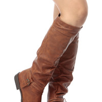 Chestnut Faux Leather Buckled Knee High Riding Boots
