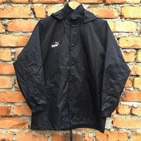 Vintage 90s PUMA hoodie jacket / windbreaker with big puma logo