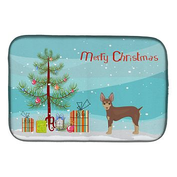 Miniature Fox Terrier Christmas Tree Dish Drying Mat CK3474DDM