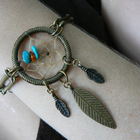 antique brass dreamcatcher bracelet turquoiseand amber  in bohemian tribal gypsy boho hipster native american hippie style