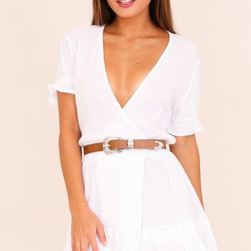 Skip a Beat dress in white linen look Produced By SHOWPO