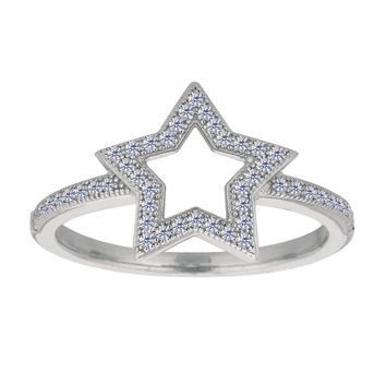 Sterling Silver With Rhodium Finish Open Star With White Cubic Zirconia Ring