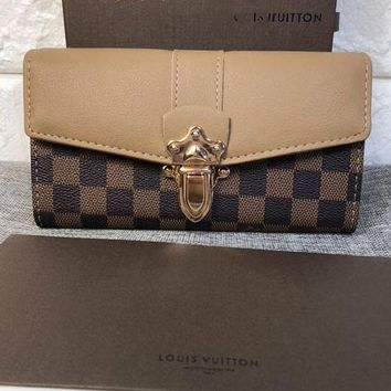 LV Fashion Women Shopping Bag Louis Vuitton Lock Contrast Coffee Tartan Wallet Shoulder Bag B-OM-NBPF Khaki