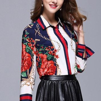 Flowers and Stars Silk Blouse