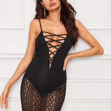 Lace Up Plunge Neck Bodysuit Insert Lace Cami Dress