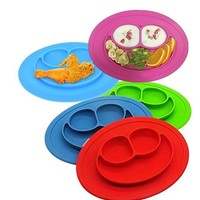 1Pcs Kids Mini Size Smile Baby Silicone Smiling face Placemat Divided Dish Bowl Plates Food Grade Silicone Placemats