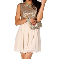 Pre-Order Gold Sequin Skater Dress