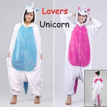 DCCKIX3 New Unicorn Unisex Lovers Flannel Hooded Pajamas Adults Cosplay Cartoon Cute Animal Onesuits  Sleepwear Suit Hoodies Unicorn = 1932280964