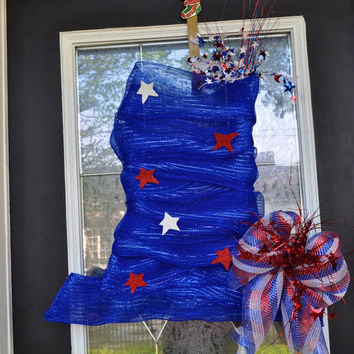 Fourth of July Hat Wreath, OOAK Wreath, 4th of July Wreath, Patriotic Wreath, Memorial Wreath, Star Wreath, Deco Mesh Wreath, Wreath