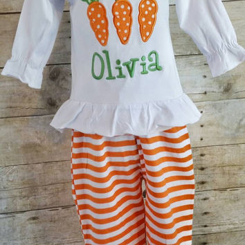 Girls Easter outfit, Easter shirt pants, applique Easter outfit, monogrammed Easter outfit, carrot outfit, stripe pants, applique shirt