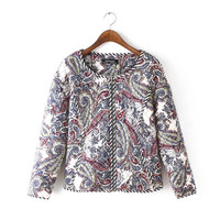 Floral Print Long-Sleeve Zippered Shirt