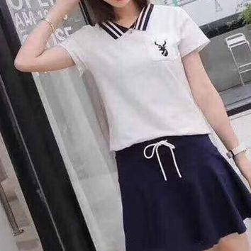 Woman's Leisure  Fashion Letter Printing Embroidery Deer Short Sleeve Elastic Band Short Skirt Two-Piece Set Casual Wear