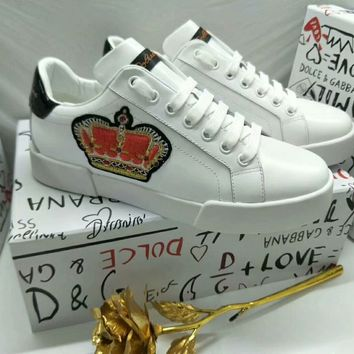 "D&G DOLCE & GABBANA Fashion Women ""Monogram Empriente"" WHITE Casual Sneaker Shoes Best Quality"