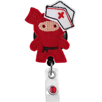 Red Ninja Nurse - Name Badge Holder - Nurses Badge Holder - Cute Badge Reels - Unique  ID Badge Holder - Felt Badge - RN Badge Reel