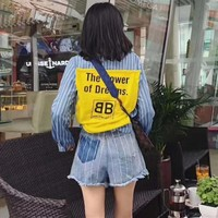 """Balenciaga"" Women Casual Fashion Stripe Multicolor Stitching Letter Patch Long Sleeve Lapel Denim Shirt Shorts Set Two-Piece"