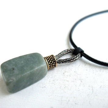 Tribal amulet, gift idea boyfriend, natural green stone guy, nature geometry, celtic men, protection necklace, viking jewellery