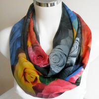 Rose Infinity Scarf, Scarf Colorful roses, rose pattern Infinity, Roses Scarves, Tube Scarves, Women's Accessories, mother gift option