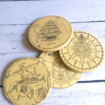 Vintage Nautical Coasters/ Vintage Scrimshaw looking Coasters/ Retro Coasters/ Nautical Decor/ Scrimshaw/ Beach Coasters
