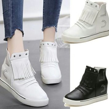 Punk Gothic Platform Wedge Tassel Sneakers, Shoes, Boots
