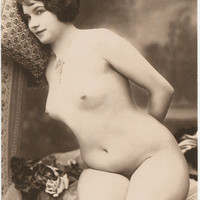 old Postcard Nude Photos Vintage Reproduction from 20s Photography Portrait nude Erotic Postcard naked Woman Photo