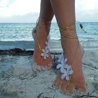 Barefoot sandals. wedding, boho sandals, barefoot sandles, crochet barefoot sandals, anklet, rhinestones, gold, white, flower, beach wedding