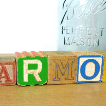 Harmony Vintage Blocks Primary Colors Childrens Toy Signage Repurposed Collectible