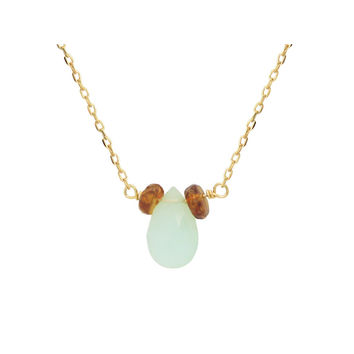 Fronay Collection 18k Gold Pl Silver Briolette Peruvian Opal & Mini Garnet Necklace, 16""