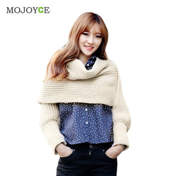 Novelty Warm Scarf Knitting Scarf With Long Sleeves Jumper Knitwear Outwear Warm Crochet Knit Long Soft Scarf SN9