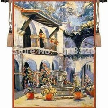 European design n scenery square with fountain 135*107cm wall hanging tapestry