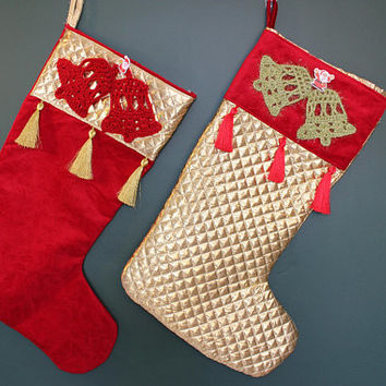 Gold Stocking Set Glitter Stocking Set of 2 Christmas Stockings Christmas Bell Stocking Knitted Stockings READY To SHiP Express SHiPPinG